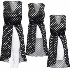 NEW! Customizable Plus Size Polka Dot SLINKY Print Sleeveless Cascading Dress With Front Slit and Optional Tapered Pants - Sizes L XL 1x 2x 3x 4x 5x 6x 7x 8x 9x
