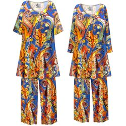 NEW! Customizable Plus Size Power Paisley Print 2 Piece Pajama Pant Set 0x 1x 2x 3x 4x 5x 6x 7x 8x 9x
