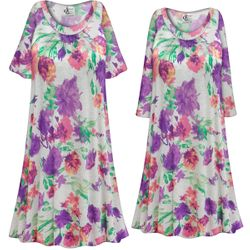NEW! Customizable Plus Size LIGHT WEIGHT Pretty in Purple Floral Print Sleep Gown - Muumuu - Moo Moo Dress 0x 1x 2x 3x 4x 5x 6x 7x 8x 9x