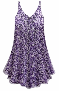 SALE! Customizable Plus Size Purple Animal Print Sheer A-Line Overshirt Top 0x 1x 2x 3x 4x 5x 6x 7x 8x