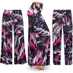 SALE! Customizable Plus Size Purple Daze Slinky Print Palazzo Pants - Tapered Pants - Sizes L XL 1x 2x 3x 4x 5x 6x 7x 8x 9x