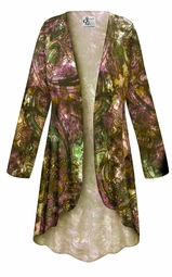 SALE! Customizable Plus Size Purple Paisley SLINKY Print Jackets & Dusters - Sizes L XL 1x 2x 3x 4x 5x 6x 7x 8x 9x