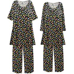 SALE! Customizable Plus Size Rainbow Dots Print 2 Piece Pajama Pant Set 0x 1x 2x 3x 4x 5x 6x 7x 8x 9x