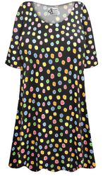 NEW! Customizable Plus Size Rainbow Dots Print Extra Long Poly/Cotton T-Shirts 0x 1x 2x 3x 4x 5x 6x 7x 8x 9x