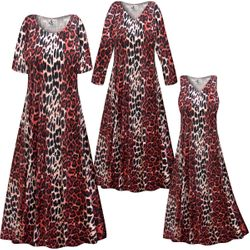 NEW! Customizable Plus Size Red Leopard Slinky Print Short or Long Sleeve Dresses & Tanks - Sizes Lg XL 1x 2x 3x 4x 5x 6x 7x 8x 9x