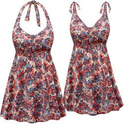 NEW! Customizable Plus Size Red Tan & Blue Print Halter or Shoulder Strap 2pc Swimsuit/SwimDress 0x 1x 2x 3x 4x 5x 6x 7x 8x 9x