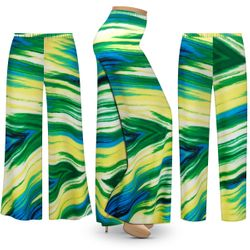 NEW! Customizable Plus Size Sky Palms Slinky Print Palazzo Pants - Tapered Pants - Sizes Lg XL 1x 2x 3x 4x 5x 6x 7x 8x 9x