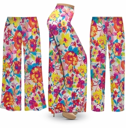SALE! Customizable Plus Size Spring Flowers Slinky Print Palazzo Pants - Tapered Pants - Sizes Lg XL 1x 2x 3x 4x 5x 6x 7x 8x 9x