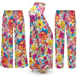 NEW! Customizable Plus Size Spring Flowers Slinky Print Palazzo Pants - Tapered Pants - Sizes Lg XL 1x 2x 3x 4x 5x 6x 7x 8x 9x