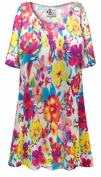 SALE! Customizable Plus Size Spring Flowers Slinky Print Short or Long Sleeve Shirts - Tunics - Tank Tops - Sizes Lg XL 1x 2x 3x 4x 5x 6x 7x 8x 9x