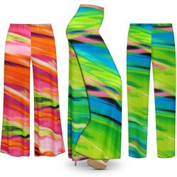 NEW! Customizable Plus Size Spring Song Slinky Print Palazzo Pants - Tapered Pants - Sizes L XL 1x 2x 3x 4x 5x 6x 7x 8x 9x