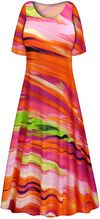 CLEARANCE! Plus Size Spring Song Slinky Print Short or Long Sleeve Dresses & Tanks 8x