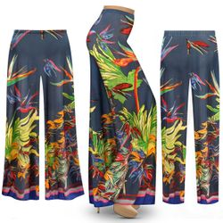 Customizable Plus Size Tasia Tropical Print Slinky Palazzo Pants - Tapered Pants - Sizes L XL 1x 2x 3x 4x 5x 6x 7x 8x 9x