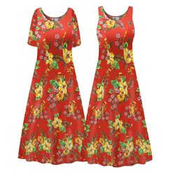 NEW! Customizable Plus Size Tropical Red Floral Print Princess Cut SLINKY PRINT Dress 0x 1x 2x 3x 4x 5x 6x 7x 8x 9x