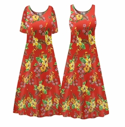 Customizable Plus Size Tropical Red Floral Print Princess Cut SLINKY PRINT Dress 0x 1x 2x 3x 4x 5x 6x 7x 8x 9x