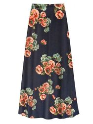 Customizable Plus Size Victorian Blue Floral Slinky Print Skirt - Sizes L XL 1x 2x 3x 4x 5x 6x 7x 8x 9x