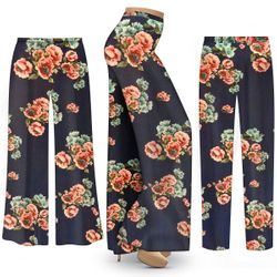 Customizable Plus Size Victorian Floral Blue SLINKY Palazzo Pants - Tapered Pants - Sizes L XL 1x 2x 3x 4x 5x 6x 7x 8x 9x