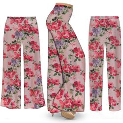 SOLD OUT!  Plus Size Victorian Floral Pink SLINKY Palazzo Pants - Tapered Pants - Sizes L XL 1x 2x 3x 4x 5x 6x 7x 8x 9x