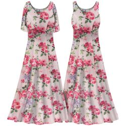 SOLD OUT! Plus Size Victorian Pink Floral Print Princess Cut SLINKY Dress 0x 1x 2x 3x 4x 5x 6x 7x 8x 9x