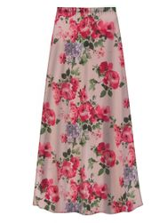Customizable Plus Size Victorian Pink Floral Slinky Print Skirt - Sizes L XL 1x 2x 3x 4x 5x 6x 7x 8x 9x