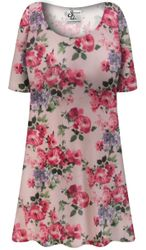 Customizable Plus Size Victorian Pink Floral SLINKY Short or Long Sleeve Shirts -Tank Tops - Sizes L XL 1x 2x 3x 4x 5x 6x 7x 8x 9x