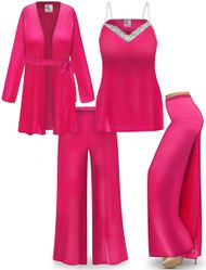 NEW! Customizable Plus Size Y2K Pink Velvet Tank, Jacket, and Palazzo Ribbed Lounge SLINKY SET - Sizes L XL 1x 2x 3x 4x 5x 6x 7x 8x 9x