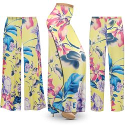 NEW! Customizable Plus Size Yellow Floral Slinky Print Palazzo Pants - Tapered Pants - Sizes L XL 1x 2x 3x 4x 5x 6x 7x 8x 9x