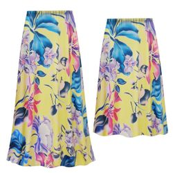 NEW! Customizable Plus Size Yellow Floral Slinky Print Skirts - Sizes L XL 1x 2x 3x 4x 5x 6x 7x 8x 9x