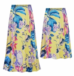 SALE! Customizable Plus Size Yellow Floral Slinky Print Skirts - Sizes L XL 1x 2x 3x 4x 5x 6x 7x 8x 9x