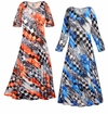 SOLD OUT! SALE! Customizable Wild Checkers Slinky Print Plus Size & Supersize Short or Long Sleeve Dresses & Tanks - Sizes Lg to 9x