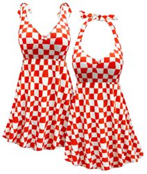 Plus Size Swimdress, Customizable Red & White Wonderland Print, Halter or Shoulder Strap, 2pc Plus Size Swimsuit 0x 1x 2x 3x 4x 5x 6x 7x 8x 9x