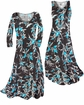 SOLD OUT! Customize Black With Oriental Lily Slinky Print Plus Size & Supersize Standard or Cascading A-Line or Princess Cut Dresses & Shirts, Jackets, Pants, Palazzo's or Skirts Lg to 9x