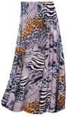 CLEARANCE! Lilac & Brown Multi Animal Skin Slinky Plus Size Skirt 1x TALL