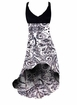 SOLD OUT! Customize White & Black Persian Paisley Print Slinky Plus Size Customize Hi-Low Empire Waist Dress add Matching Wrap 0x 1x 2x 3x 4x 5x 6x 7x 8x 9x