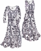 SOLD OUT! White & Black Persian Paisley Slinky Print Plus Size & Supersize Dresses