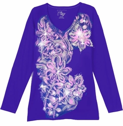 SOLD OUT! Dark Purple With Light Pink Blossoms Floral Glittery Plus Size T-Shirt