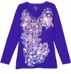 FINAL CLEARANCE SALE! Dark Purple With Light Pink Blossoms Floral Glittery Plus Size T-Shirt 1x