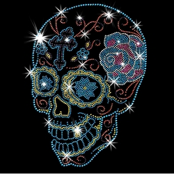 SALE! Day Of The Dead Sugar Skull With Cross & Rose Sparkly Rhinestud Rhinestones Plus Size & Supersize T-Shirts S M L XL 2x 3x 4x 5x 6x 7x 8x 9x (All Colors)