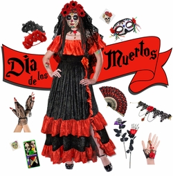 Red Dia de los Muertos! Day of the Dead Plus Size Day of the Dead Halloween Costume Long Dress & Accessory Kits XL 1x 2x 3x 4x 5x 6x 7x 8x