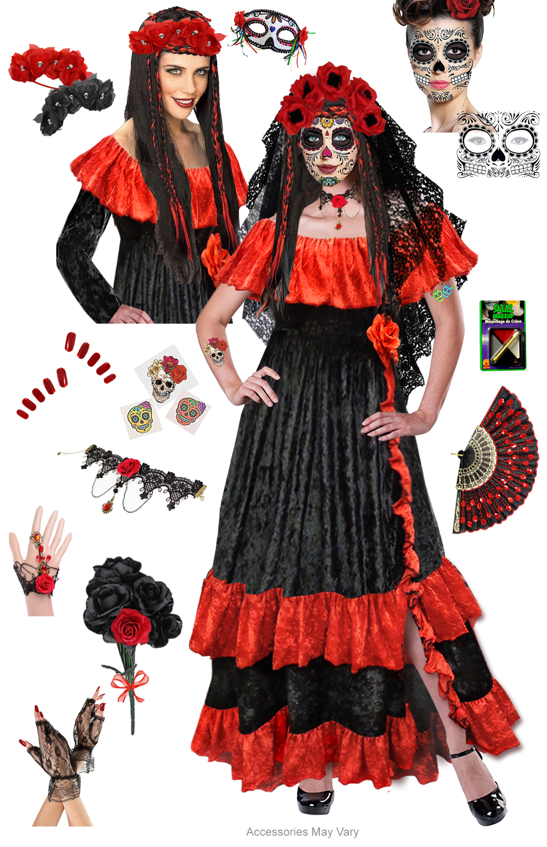 Red Dia De Los Muertos Day Of The Dead Plus Size Day Of
