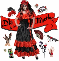 SALE! Plus Size Day of the Dead Costume for Dia de los Muertos Long Dress & Accessory Kits XL 1x 2x 3x 4x 5x 6x 7x 8x