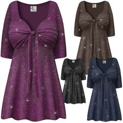 NEW! Customizable Plus Size Embossed Navy, Black or Gray Glitter Slinky Tie Babydoll Top Lg XL 1x 2x 3x 4x 5x 6x 7x 8x