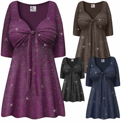 SALE! Customizable Plus Size Embossed Black or Gray Glitter Slinky Tie Babydoll Top Lg XL 1x 2x 3x 4x 5x 6x 7x 8x