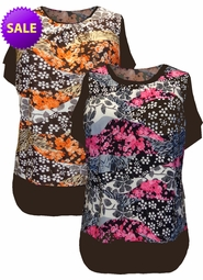 SOLD OUT! Just Reduced! Slinky Flower Blossoms Print - Black & Pink or Brown & Orange - Plus Size Tunic Top 4x5x6x