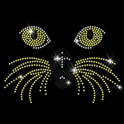 SALE! Golden Kitty Whisker Face Sparkly Rhinestud Rhinestones Plus Size & Supersize T-Shirts S M L XL 2x 3x 4x 5x 6x 7x 8x 9x (All Colors)
