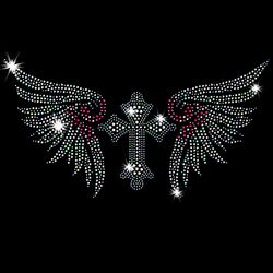 SALE! Gothic Cross With Pink & Silver Wings Sparkly Rhinestud Rhinestones Plus Size & Supersize T-Shirts S M L XL 2x 3x 4x 5x 6x 7x 8x 9x (All Colors)