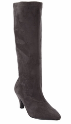 "NEW! Gray Suede-Like Zippered 3"" Heel Boots Shoes"