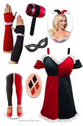 SALE! Plus Size HarleQuin Dress + Harley Quinn Halloween Costume Accessories - Deluxe Kit Lg XL 0x 1x 2x 3x 4x 5x 6x 7x