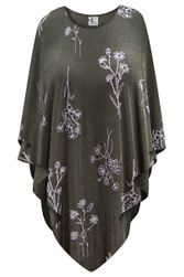 NEW! Heathered Olive Floral Slinky Print Plus Size Supersize Poncho One Size
