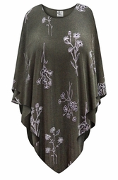 SOLD OUT! NEW! Heathered Olive Floral Slinky Print Plus Size Supersize Poncho One Size